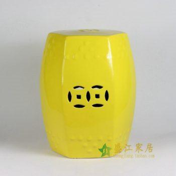 RYIR109-A 0947景德镇陶瓷 颜色釉双钱孔六棱鼓瓷凳 凉墩 鼓凳