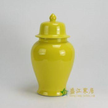 RYKB117-C 0463景德镇陶瓷 高温颜色釉黄色瓷罐 全手工将军罐 盖罐 储物罐 尺寸:口径 12厘米 肚径 21厘米 高 37.5厘米