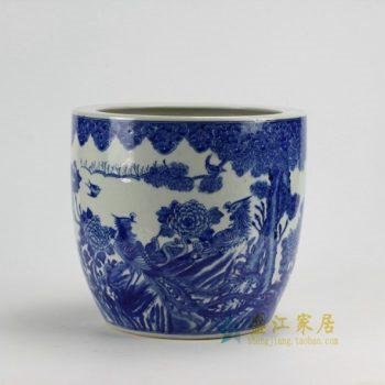 RZDA04 0436景德镇陶瓷 仿古青花 手绘花鸟鱼缸 花盆