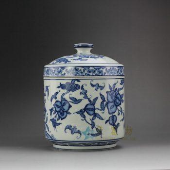 RYSN12 8651景德镇陶瓷 手绘青花福寿图茶叶罐 盖罐 储物罐 规格尺寸:口径 16.5厘米 肚径 16.5 厘米 高 21.5 厘米