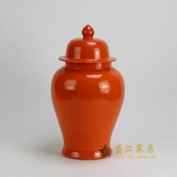 RYKB117-B 0461景德镇陶瓷 高温颜色釉橙红罐 全手工将军罐 盖罐 储物罐 尺寸:口径 12厘米 肚径 21厘米 高 37.5厘米