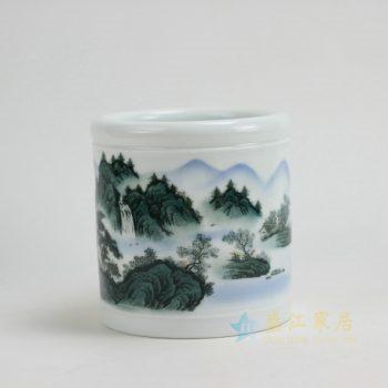 RYZP02-B 9661景德镇陶瓷 手工釉中彩山水风光画 笔筒 文房用具