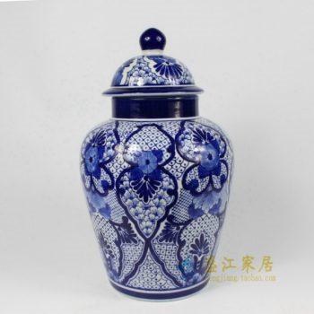 RYPU15-B 1765景德镇陶瓷 手绘青花花卉图瓷罐 盖罐 将军罐 储物罐 规格:口径 11厘米 肚径 22厘米 高 36厘米