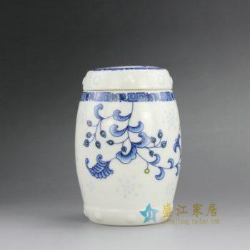 RZEJ02 9808景德镇陶瓷 手绘青花斗彩花卉图鼓形茶叶罐 盖罐 密封罐 规格尺寸:口径 8.5厘米 肚径 10.2厘米 高 14.8 厘米
