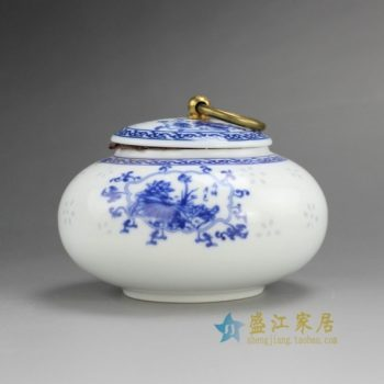 RZEJ03 9813景德镇陶瓷 手绘青花花卉带环盖茶叶罐 盖罐 密封罐 规格尺寸:口径 6厘米 肚径 11厘米 高 8.2厘米