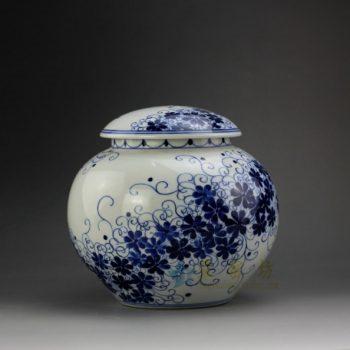 RYSN15 8667景德镇陶瓷 手绘青花缠枝花卉图茶叶罐 盖罐 储物罐 规格尺寸:口径 11.3厘米 肚径 20.3 厘米 高 19.2 厘米