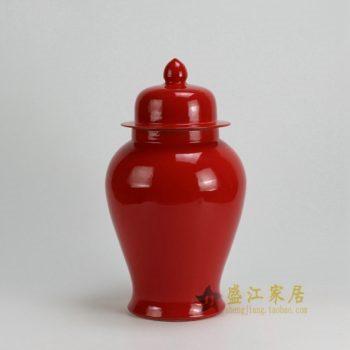 RYKB117-F 0469景德镇陶瓷 高温颜色釉大红全手工将军罐 盖罐 储物罐 尺寸:口径12厘米 肚径 21厘米 高 37.5厘米