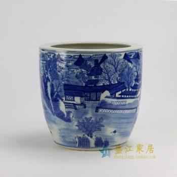 RZDA04-B 0424景德镇陶瓷 仿古青花手绘山水楼阁瓷缸 花缸 花坛 尺寸:口径 28.8 厘米 高 27.8厘米