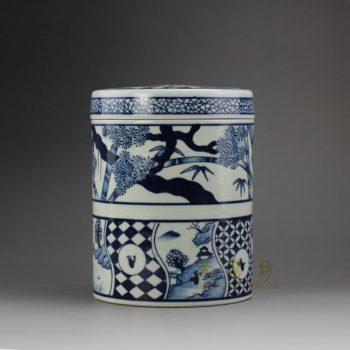 RYSN09 8636景德镇陶瓷 手绘青花山水花卉屏画茶叶罐 盖罐 储物罐 尺寸:口径 13厘米 高 16.8厘米