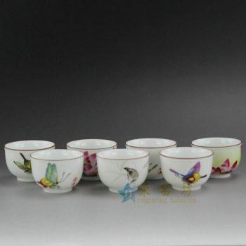 RYOK76 0644景德镇陶瓷 亚光白纯手工胎 手绘粉彩铁口 紫金口茶杯 品茗杯 功夫茶具