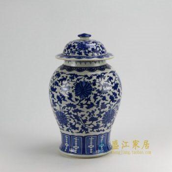 RZDA17 0397景德镇陶瓷 仿古 手绘青花缠枝莲将军罐 盖罐 储物罐 尺寸:口径 14.8厘米 肚径 25.6厘米 高 43.8厘米