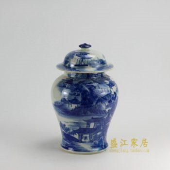 RZDA15 0385景德镇陶瓷 仿古手绘青花山水风景画将军罐 盖罐 储物罐 尺寸:口径 12.8厘米 肚径 21.5厘米 高35厘米