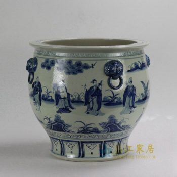 RZFH01 0782景德镇陶瓷 仿古手绘青花八仙缸 狮耳环花缸 花盆 鱼缸