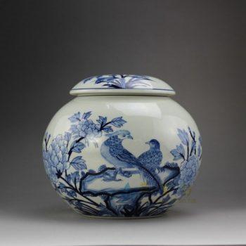 RYSN13 8656景德镇陶瓷 手绘青花花鸟图茶叶罐 盖罐 储物罐 规格尺寸:口径 11.5 厘米 肚径 20.8 厘米 高 18.5 厘米