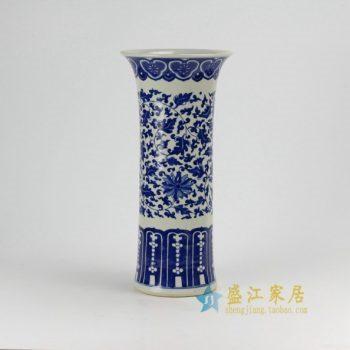 RZDA12 0360景德镇陶瓷 仿古手绘青花缠枝 串之莲花菇 花瓶 花插 尺寸:口径 18.5 厘米 高 40厘米