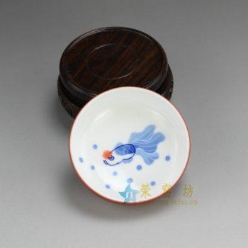 RZDT07-C 9948景德镇陶瓷 高温颜色釉酱红内手绘青花加彩游鱼图茶杯 品茗杯 功夫茶具