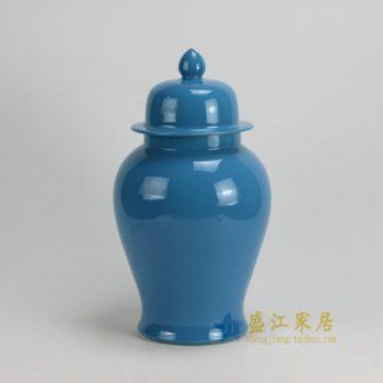 RYKB117-D 0465景德镇陶瓷 高温颜色釉天蓝全手工将军罐 盖罐 储物罐 尺寸:口径 12厘米 肚径 21厘米 高 37.5厘米