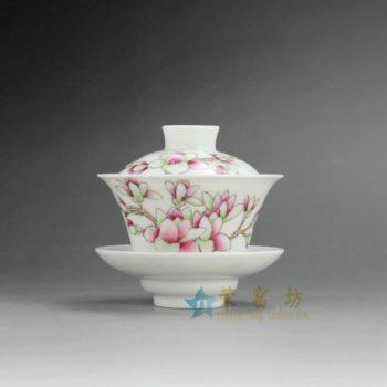 RYNY23-B 9867景德镇陶瓷盖碗 手绘花卉图盖碗 三才碗 功夫茶具