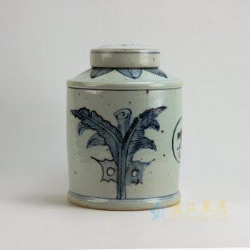 RZFB05 9541景德镇陶瓷 青花蕉叶图纹瓷罐 茶叶罐 盖罐 储物罐 规格尺寸:口径 10.3 厘米 肚径 20.3 厘米 高 28.5 厘米