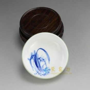 RZDT07-A 9945景德镇陶瓷 高温颜色釉豆青杯 内手绘兰花茶杯 品茗杯 功夫茶具