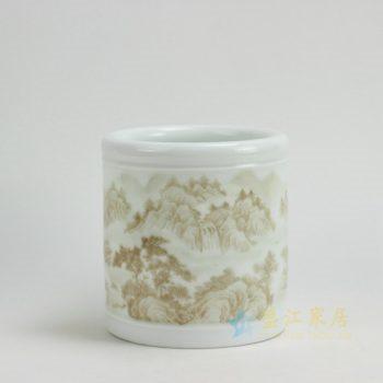 RYZP02-A 9655景德镇陶瓷 影青釉山林图纹笔筒 文房用具