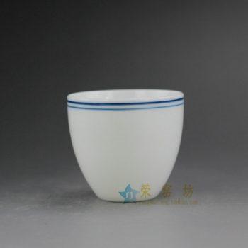 RYZU16-B 0691景德镇陶瓷 手绘青花线条白色茶杯 品茗杯 功夫茶具 尺寸:5.8厘米 高 5.3厘米 容量 75毫升