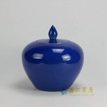 RYKB120-D 0508景德镇陶瓷 颜色釉蓝色细开片 细裂纹茶叶罐 盖罐 储物罐 尺寸:口径 10.5厘米 肚径 24厘米 高 25.5厘米