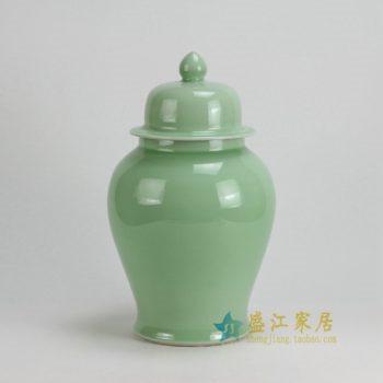 RYKB117-E 0467景德镇陶瓷 高温颜色釉豆青全手工将军罐 盖罐 储物罐 尺寸: 口径 12厘米 肚径 21厘米 高 37.5厘米