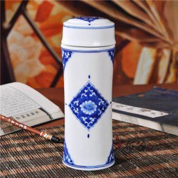 CBAJ05-D手工全瓷双层隔热青花保温杯 旅行杯 养生杯