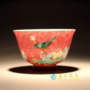 RZFK01-B 1343手绘粉彩花鸟扒花茶杯 品茗杯