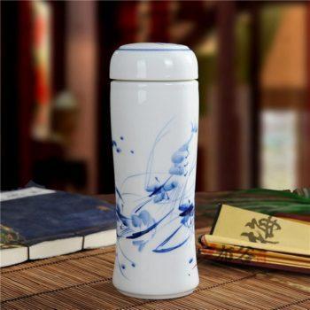 CBAJ05-J手工全瓷双层隔热青花保温杯 旅行杯 养生杯