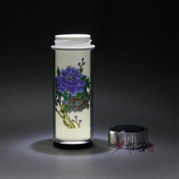 CBDI45-B 手工双层隔热陶瓷内胆粉彩富贵花开旅行杯 保温杯 养生杯
