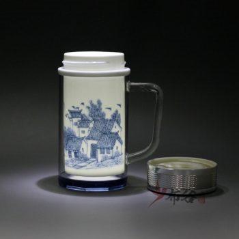 CBDI46-B 手工双层陶瓷内胆青花图纹保温杯 旅行杯 尺寸: 口径 6.5厘米 肚径 8.2厘米 高 16.2厘米 容量 380毫升