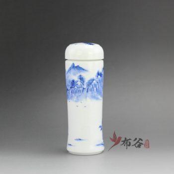 CBAJ05-M 9696手工全瓷双层隔热青花山水保温杯 旅行杯 养生杯 尺寸: 口径 5.6厘米 肚径 7.1厘米 高 20.5厘米 容量 350 毫升
