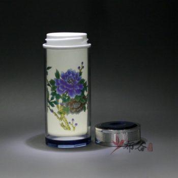 CBDI44-E 手工双层隔热陶瓷内胆粉彩富贵花开旅行杯 保温杯 养生杯