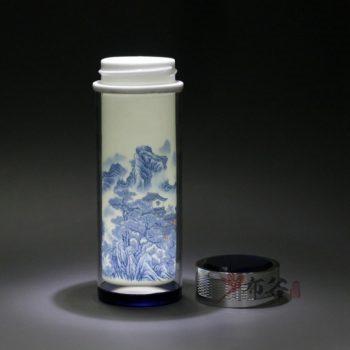 CBDI45-E 手工双层陶瓷内胆青花图纹保温杯 隔热旅行杯 养生杯