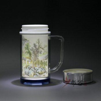 CBDI46-D 景德镇陶瓷 手工双层陶瓷内胆保温杯 旅行杯