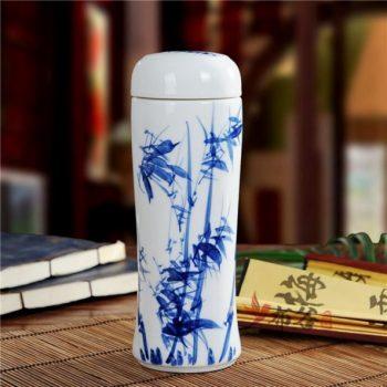CBAJ05-L手工全瓷双层隔热青花翠竹图保温杯 旅行杯 养生杯
