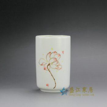 RZFE02-B 手绘粉彩荷花图直筒茶杯 品茗杯 功夫茶具 尺寸: 口径 7.3厘米 高 12.3厘米 容量 335毫升