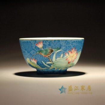 RZFK01-A 1342扒花手绘粉彩花鸟图茶碗 汤碗 茶杯