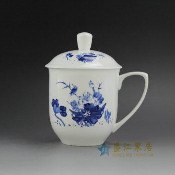 CBDI40-P 手绘青花骨瓷茶杯 带盖泡茶杯 老板杯 办公杯