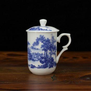 CBDI48-E手绘青花骨瓷带盖茶杯 老板杯 办公杯 尺寸:口径 7.7厘米 盖径 8.6厘米 高13.8厘米 容量 350毫升
