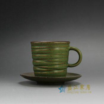 RZFE06 手工刻纹带托花色釉茶杯 品茗杯 功夫茶具 尺寸; 口径 7.7厘米 碟径 12.3厘米 高 8.5厘米 容量 175毫升
