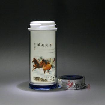 CBDI44-F手工双层隔热陶瓷内胆粉彩马到成功旅行杯 保温杯 养生杯