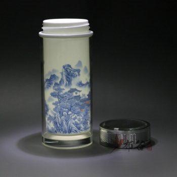 CBDI44-手工双层隔热陶瓷内胆青花旅行杯 保温杯 养生杯