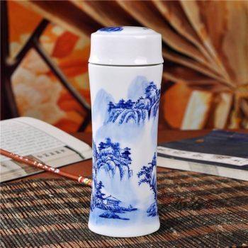 CBAJ05-E手工全瓷双层隔热青花山水风景画保温杯 旅行杯 养生杯