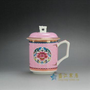 CBDI39-H 0257手绘新彩荷花图纹茶杯 带盖老板杯 泡茶杯 办公杯 口径 8.8厘米 高14.8厘米 容量 450毫升