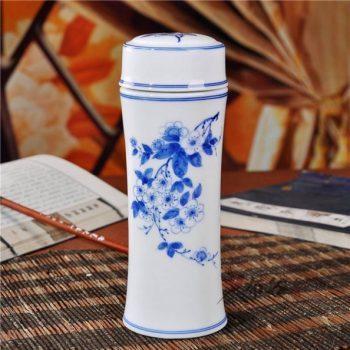 CBAJ05-H手工全瓷双层隔热青花旅行杯 保温杯 养生杯