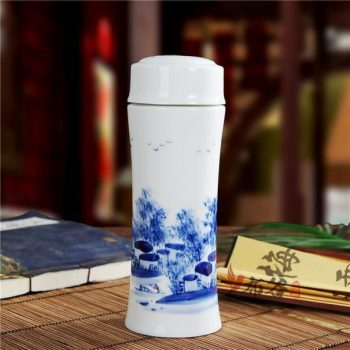 CBAJ05-B手工全瓷双层隔热青花乡村风光图保温杯 旅行杯 养生杯