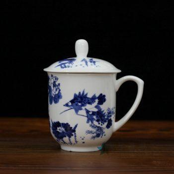 CBDI33-G手绘青花和为贵骨瓷茶杯 带盖老板杯 办公杯 尺寸:口径 8.6厘米 盖径 9.6厘米 高 13.6厘米 容量 380毫升